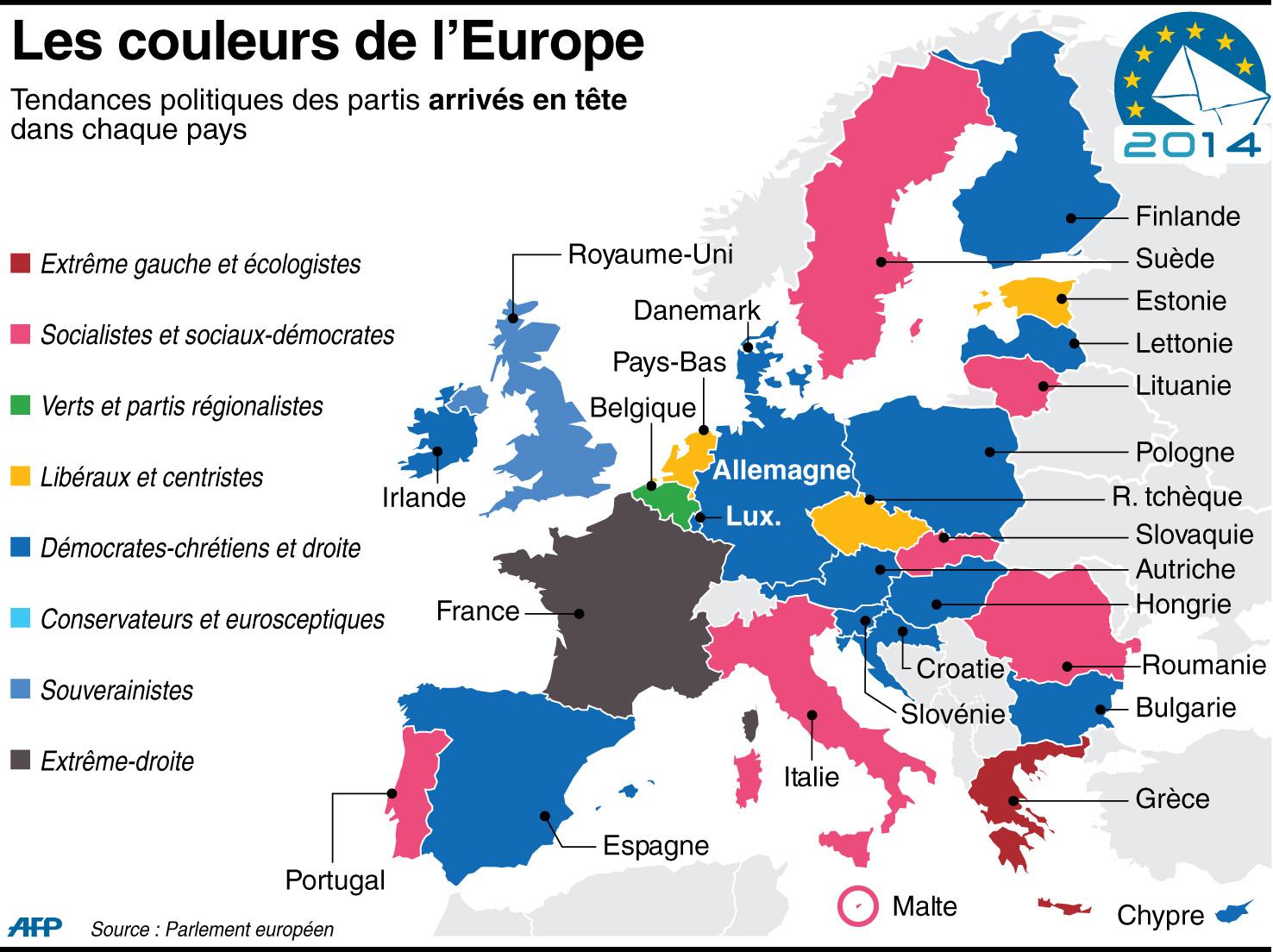 Résultats Européennes 2014 : Retrouvez La Liste Complète Des concernant Carte Des Pays De L Union Européenne