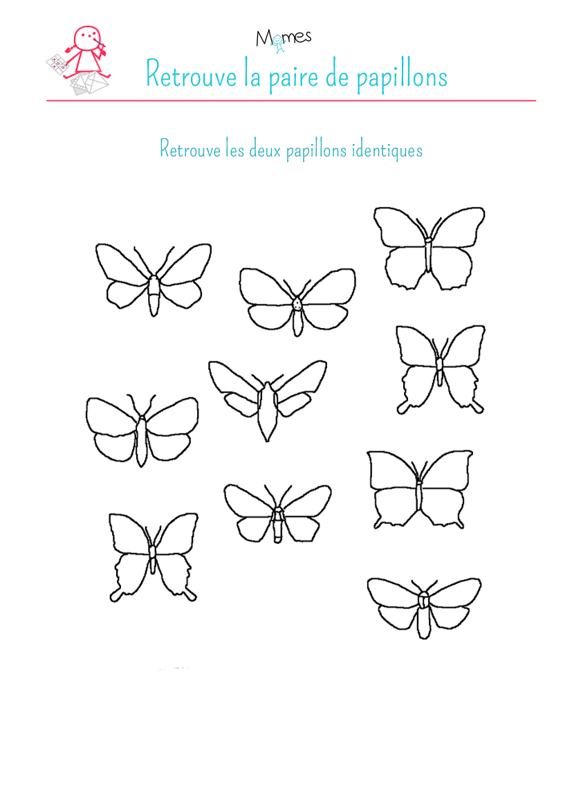 Retrouve Les Papillons Identiques - Momes tout Jeux Educatif 4 Ans A Imprimer