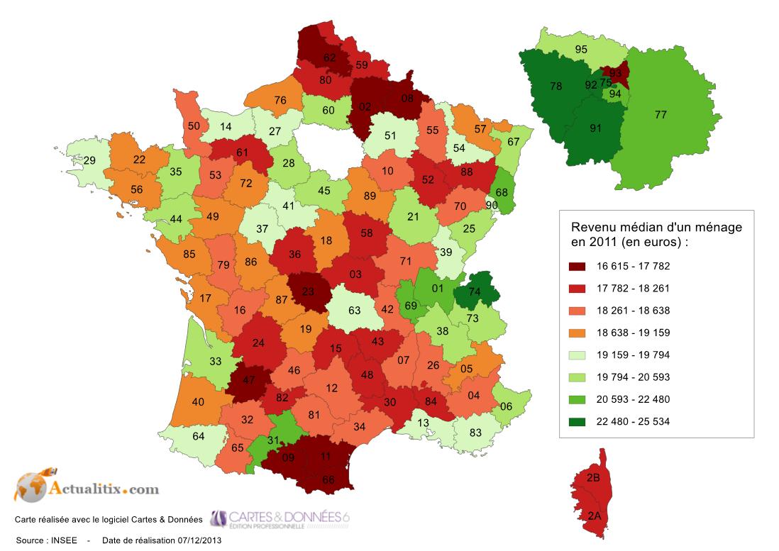 Revenu Médian Selon Les Départements En France En 2011 concernant Carte Des Départements De France 2017