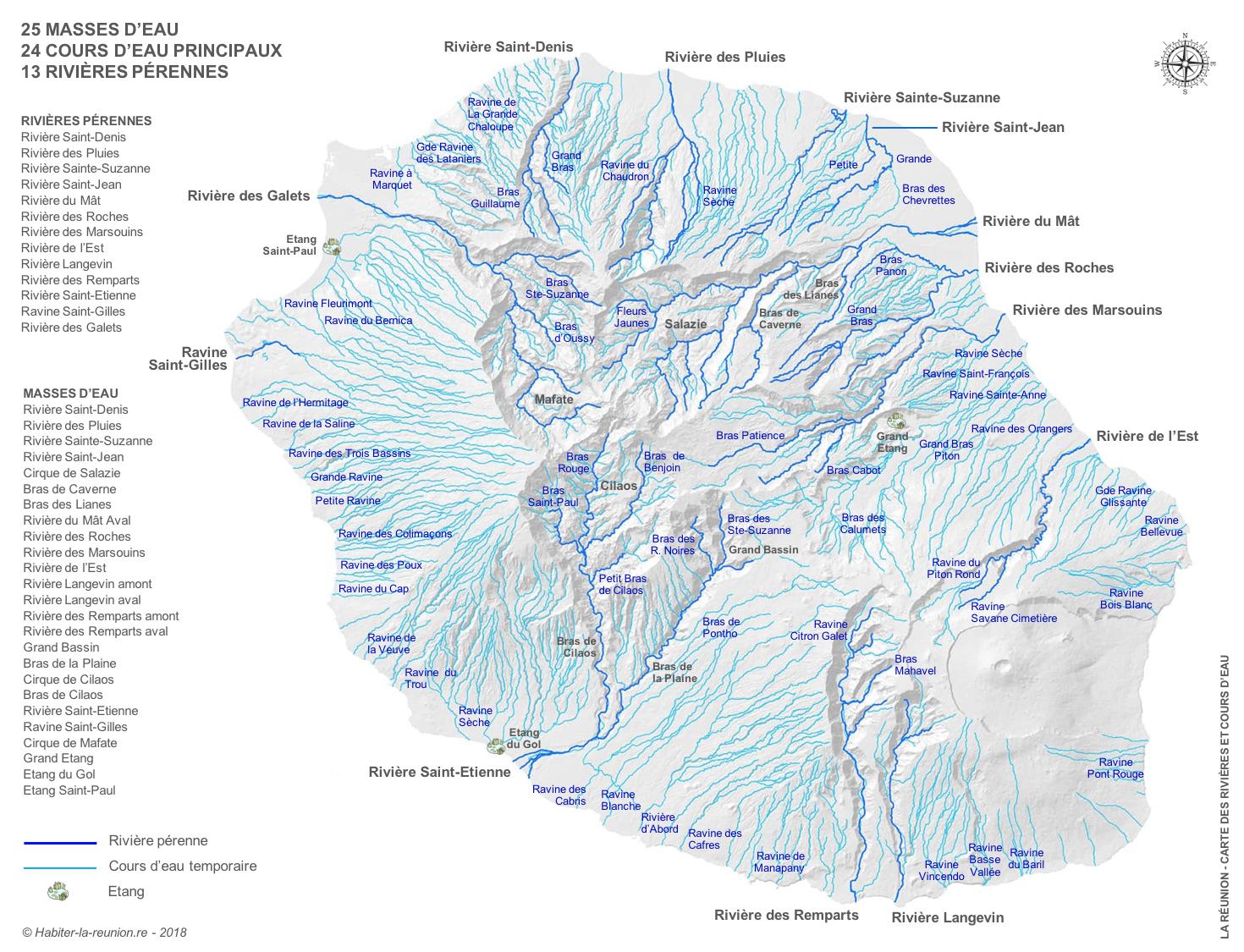 Rivières Et Cours D'eau De La Réunion   Habiter La Réunion concernant Carte Des Fleuves De France