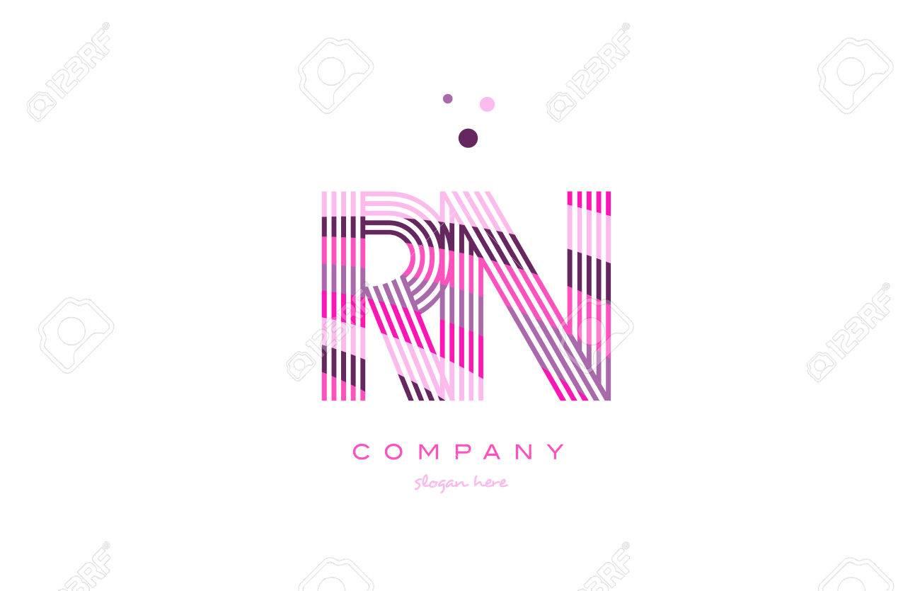 Rn Rn Lettre De L'alphabet Logo Rose Violet Police De Ligne Texte Créatif  Dots Entreprise Vecteur Icône Modèle De Conception pour Modele De Lettre Alphabet