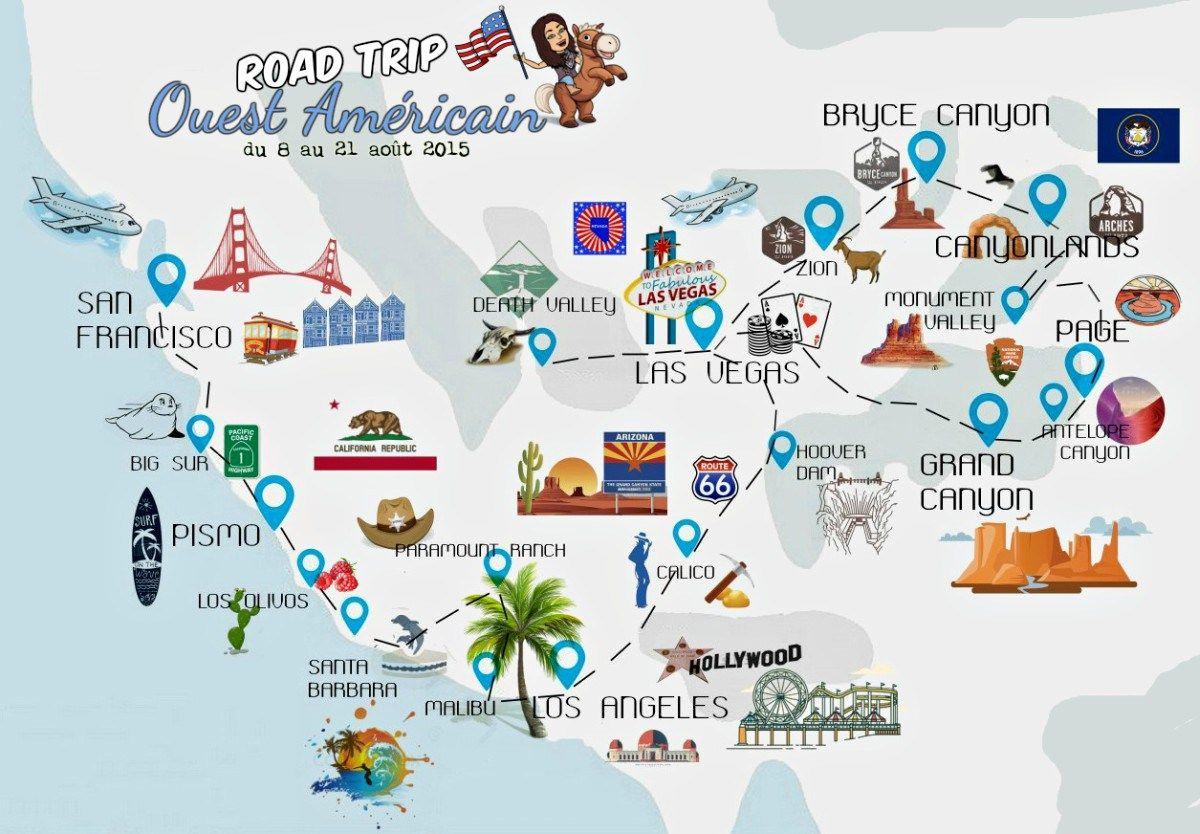 Road-Trip Dans L'ouest Américain | Road Trip Ouest Americain dedans Carte Etat Amerique