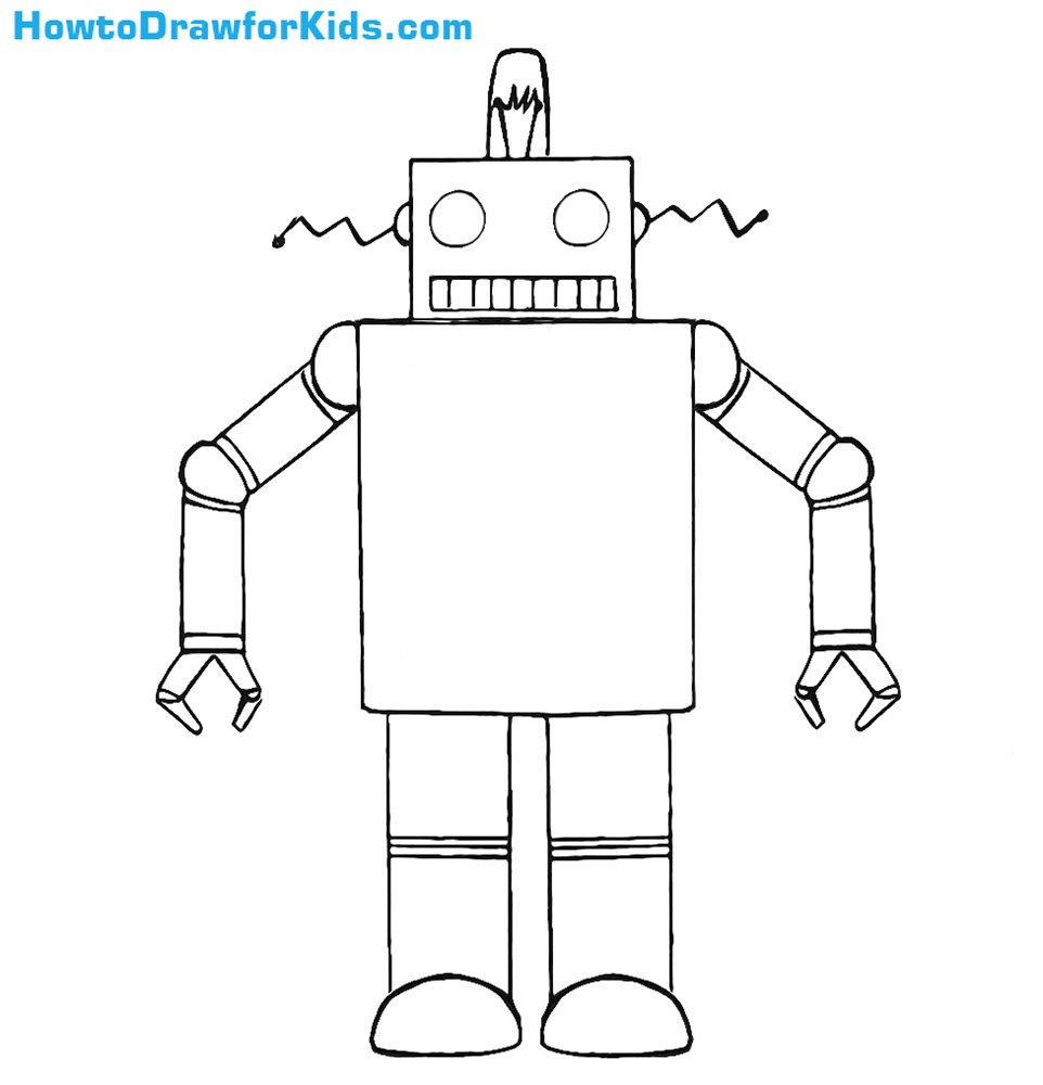 Robot Drawing For Kids pour Coloriage Robot À Imprimer