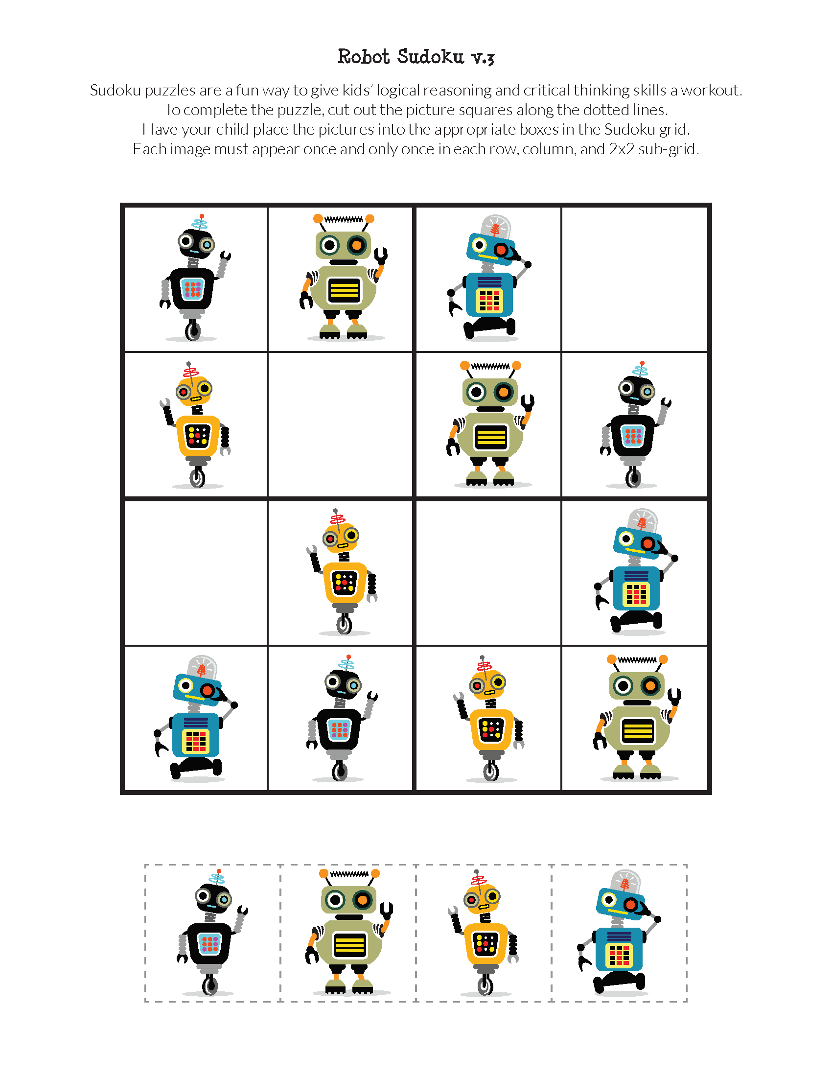 Robot Sudoku Puzzles {Free Printables} | Robot pour Jeux De Puzzle Pour Enfan Gratuit
