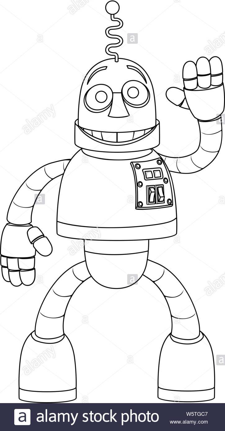 Robot Sympathique Personnage Coloriage Pour Enfants Vecteurs avec Personnage A Colorier
