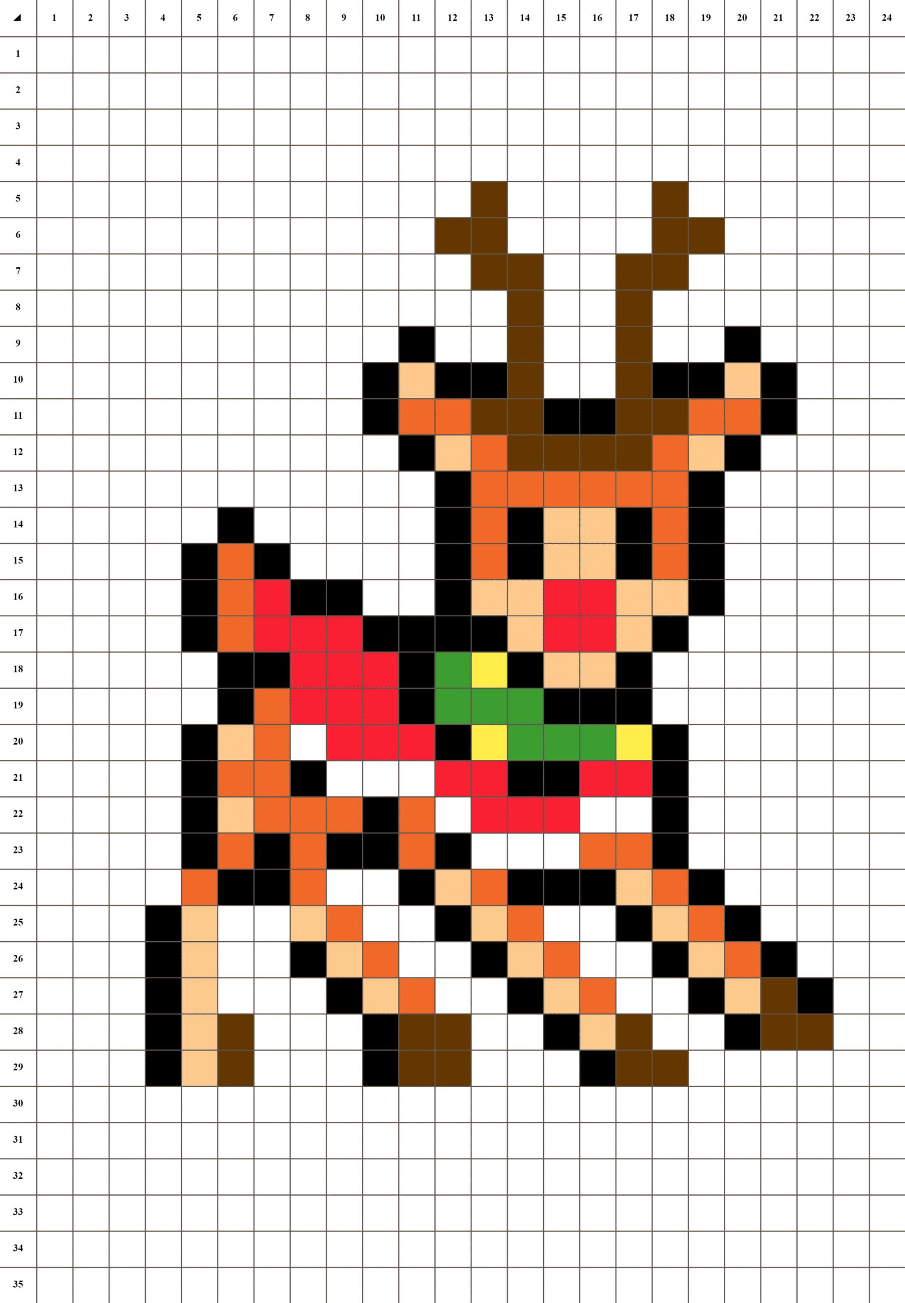 Rodolphe Renne De Noël - Pixel Art | La Manufacture Du Pixel concernant Pixel Art De Noël
