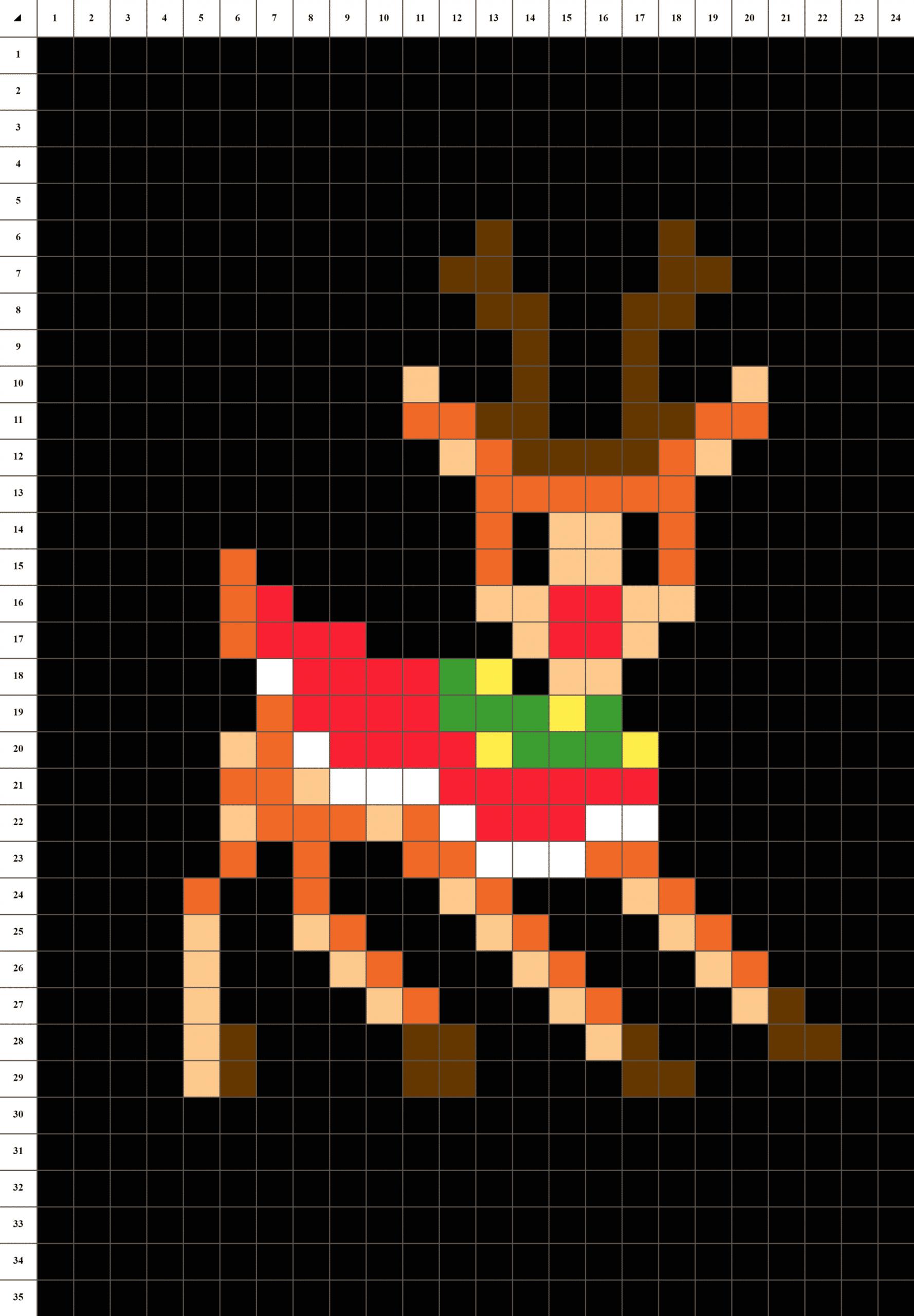 Rodolphe Renne De Noël - Pixel Art | La Manufacture Du Pixel encequiconcerne Pixel Art Pere Noel