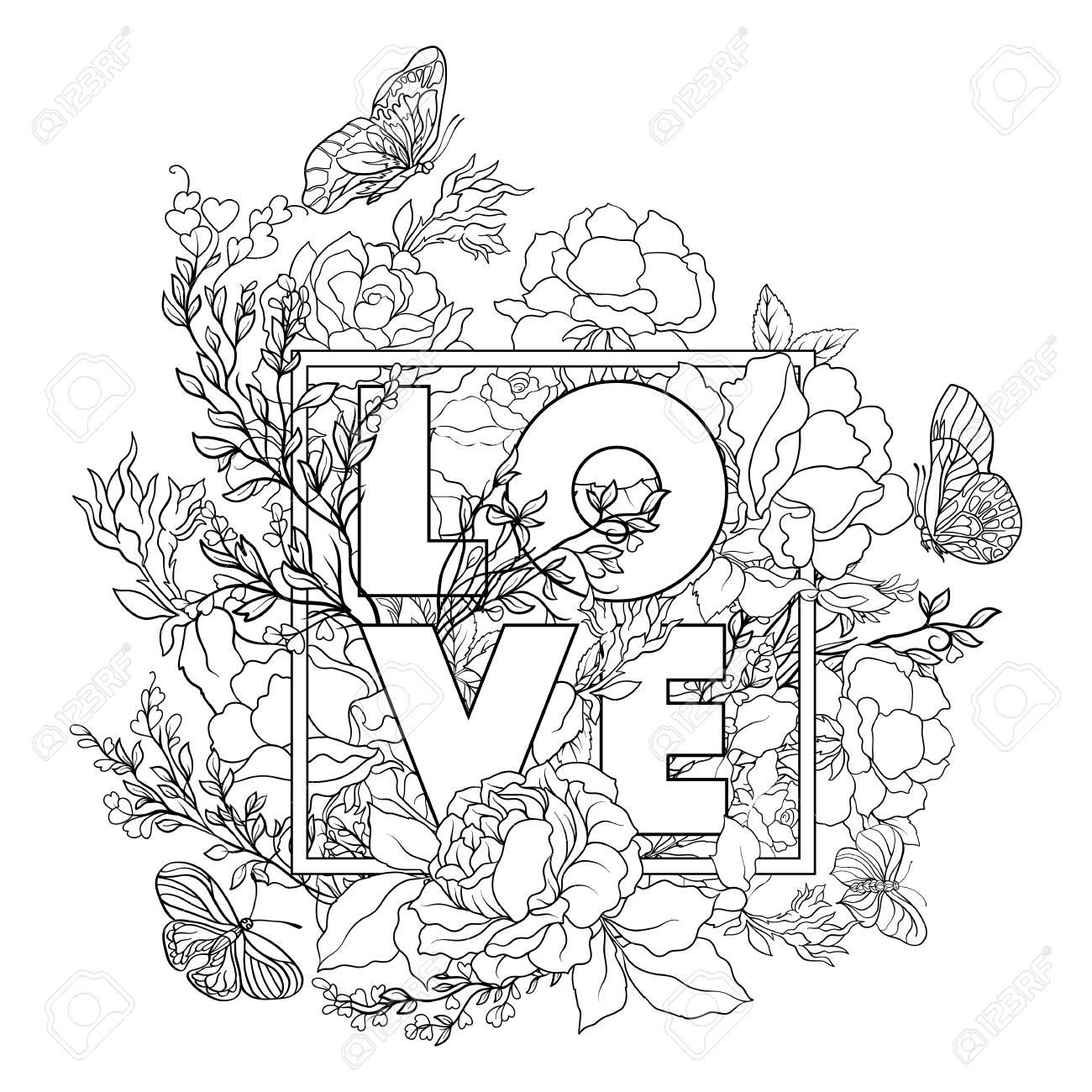 Rose Fleur De Fond Avec Le Mot Amour. Outline Dessin De Coloriage Page.  Livre À Colorier Pour Les Adultes. pour Dessin A Colorier De Fleur