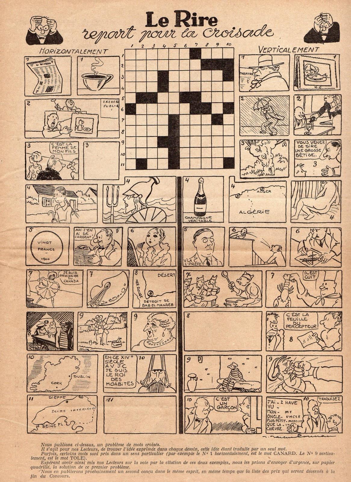 Rubrique À Brac : Des Mots Croisés Dessinés (Le Rire, 1933) - pour Mots Croisés Personnalisés