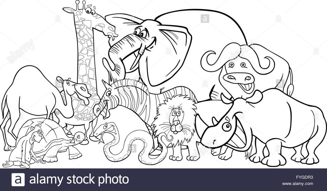 Safari Africain Pour Colorier Dessin Animé Animaux Banque D destiné Dessin Africain A Colorier