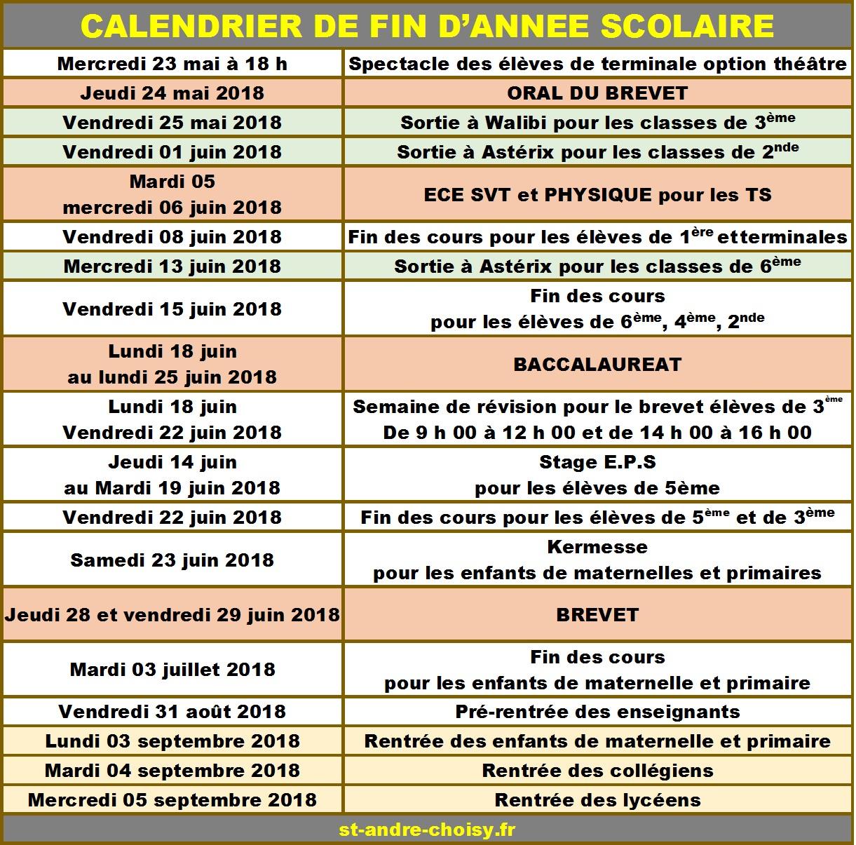 Saint-André | Calendrier De Fin D'annee Scolaire 2018 encequiconcerne Calendrier 2018 Enfant