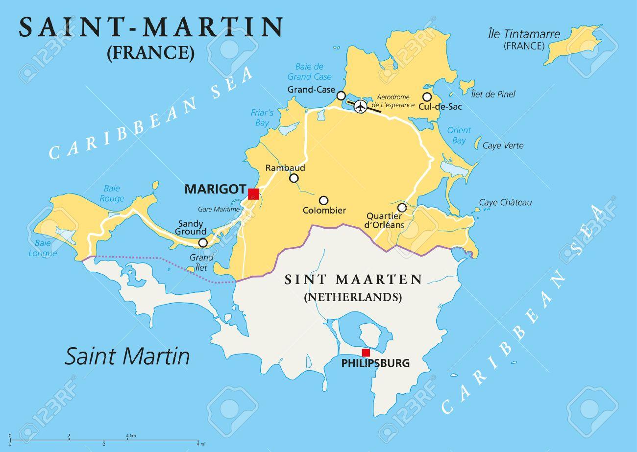 Saint-Martin Pays Carte Politique. La Partie Nord De L'île Des Caraïbes De  Saint Martin. Une Collectivité D'outre-Mer De La France Avec La Capitale intérieur Carte France D Outre Mer