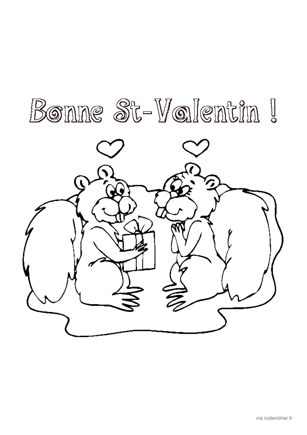 Saint-Valentin - Coloriage À Offrir - Icalendrier tout Dessin Pour La Saint Valentin