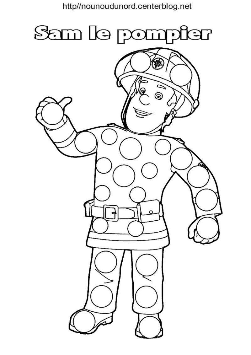 Sam Le Pompier Coloriage Pour Les Gommettes à Dessin De Pompier À Imprimer