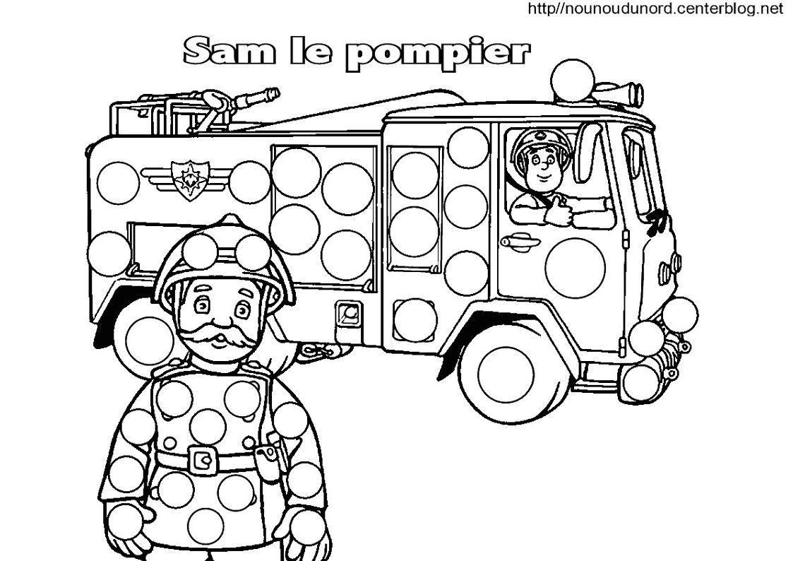 Sam Le Pompier Coloriage Pour Les Gommettes pour Dessin De Pompier À Imprimer