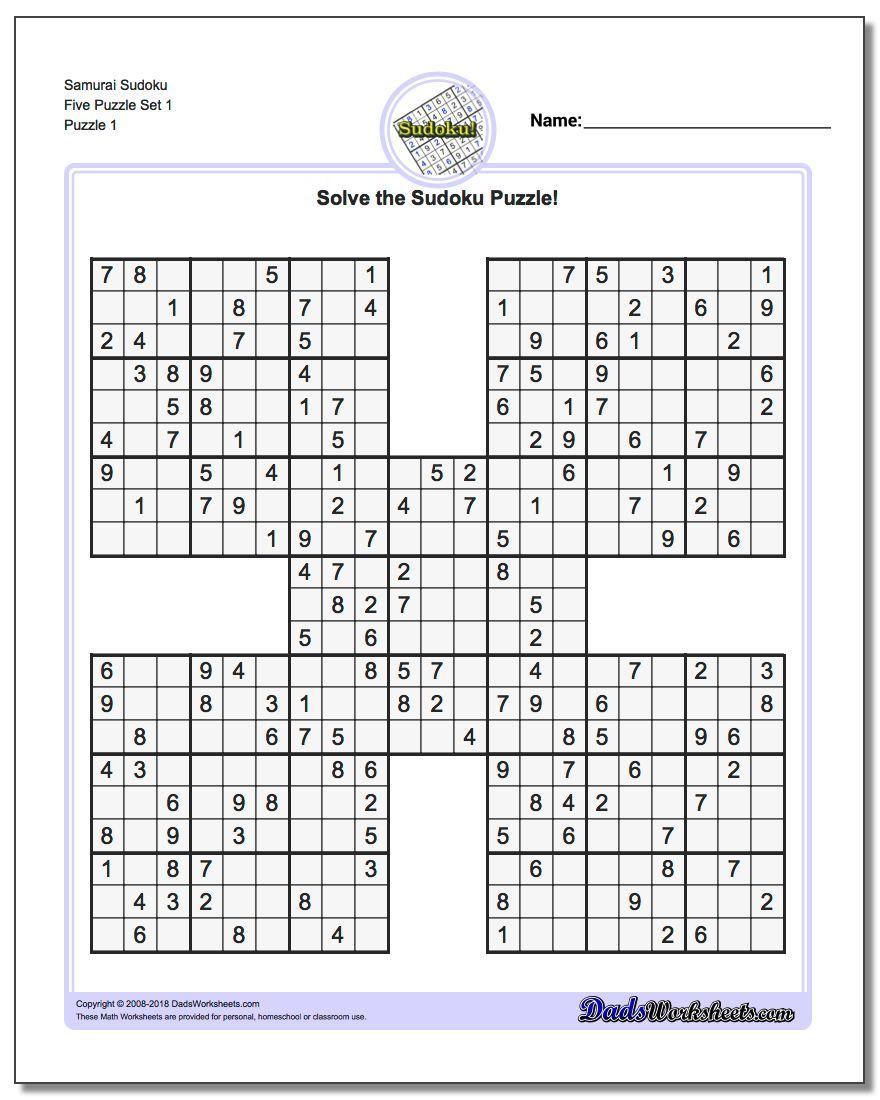 Samurai Sudoku Five Puzzle Set 1 #sudoku #worksheet | Sudoku avec Sudoku A Imprimer