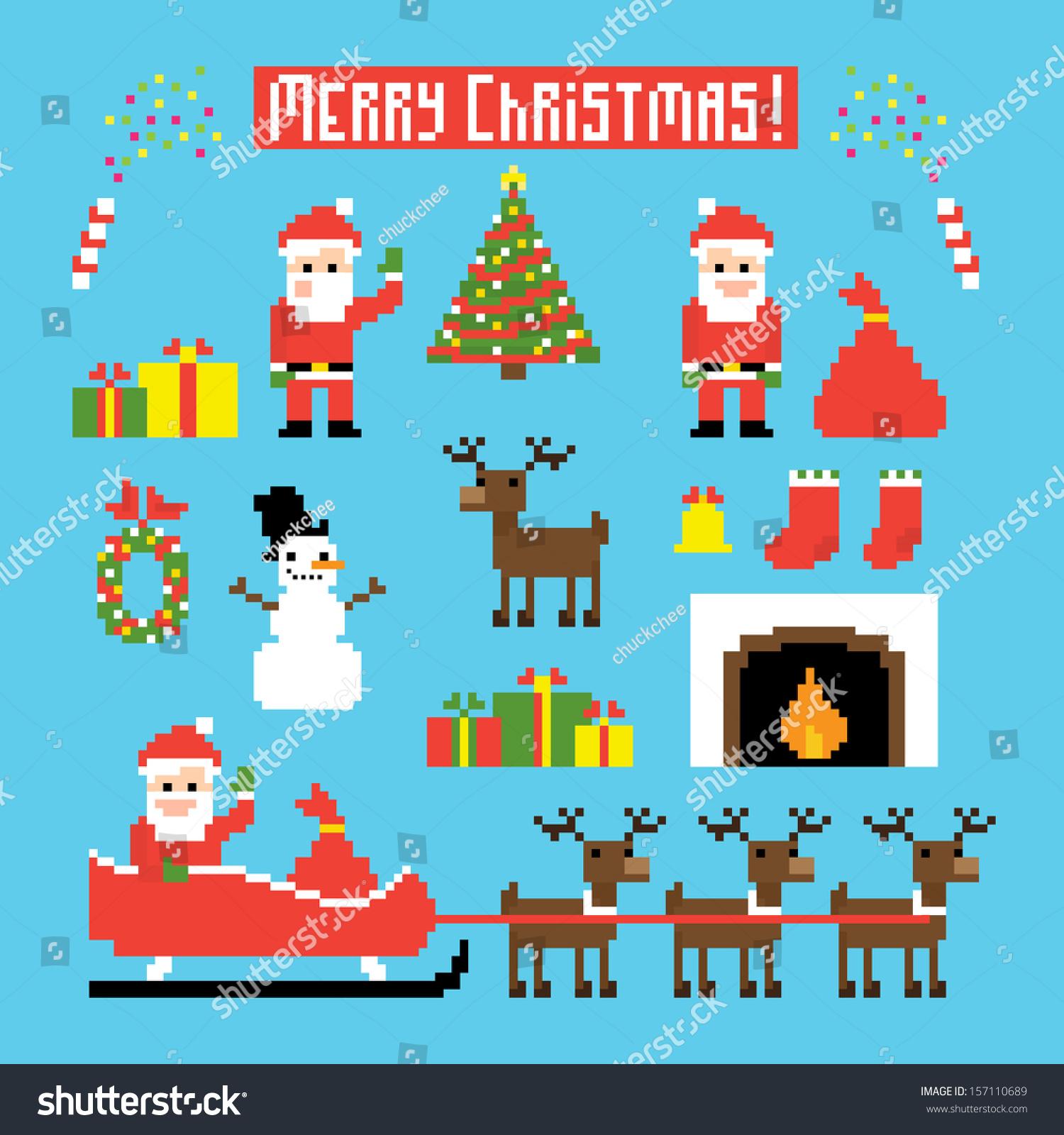 Santa, Geyik, Kardan Adam, Yılbaşı Ağacı Stok Vektör avec Pixel Art De Noël