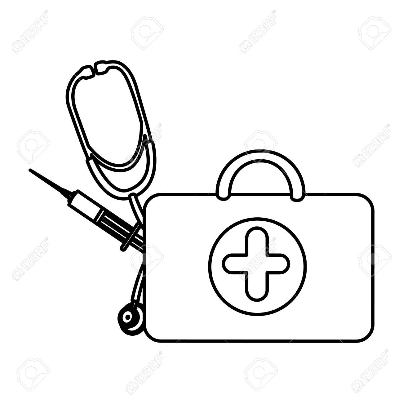 Santé Valise Chiffre Avec Stéthoscope Et Seringue, Dessin Vectoriel pour Dessin Stéthoscope
