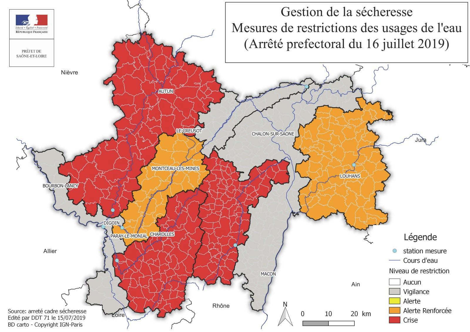 Saône Et Loire   Sécheresse : La Moitié Du Département Passe concernant Carte De France Avec Départements Et Préfectures