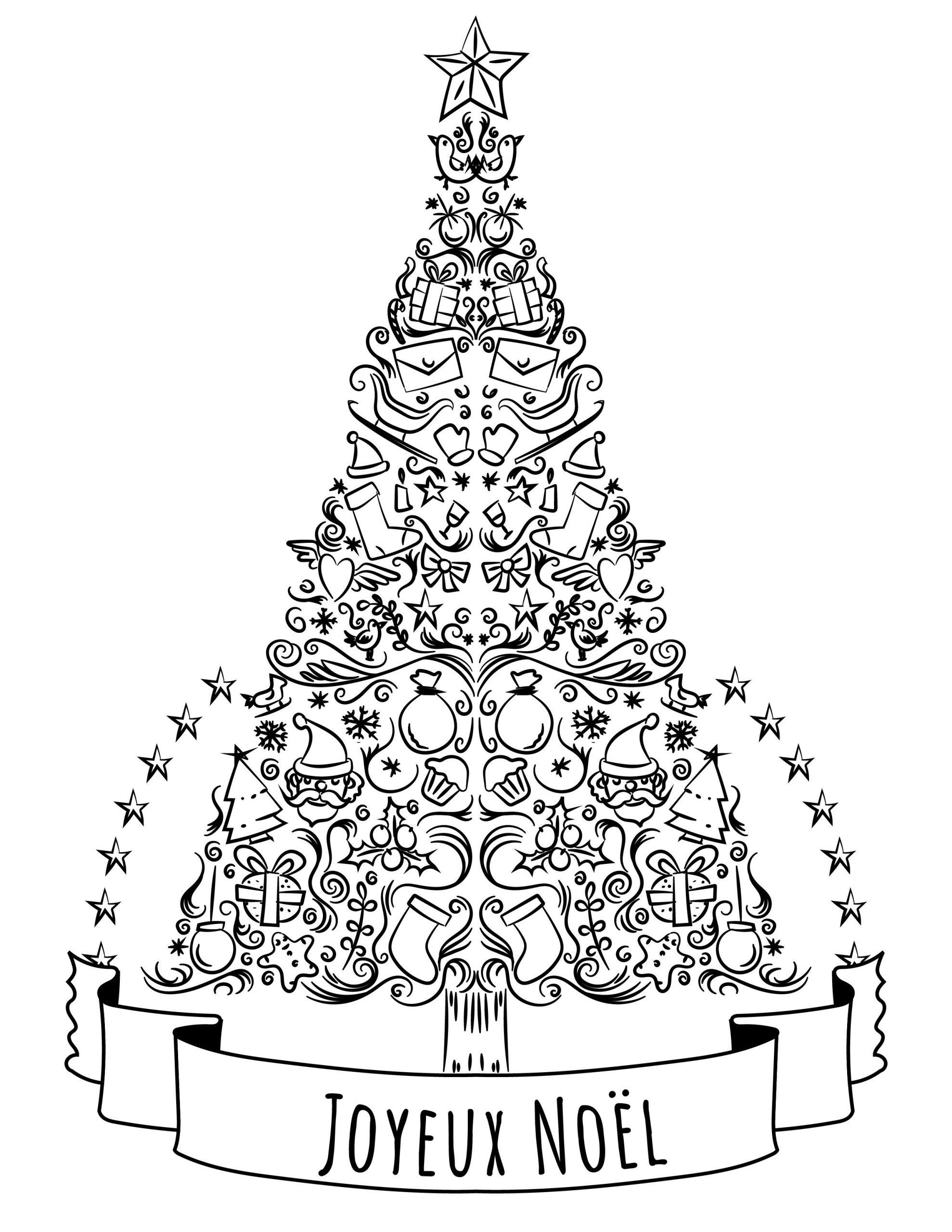 Sapin De Noel A Colorier Tres Difficile | French Christmas destiné Coloriage De Sapin De Noel A Imprimer Gratuit