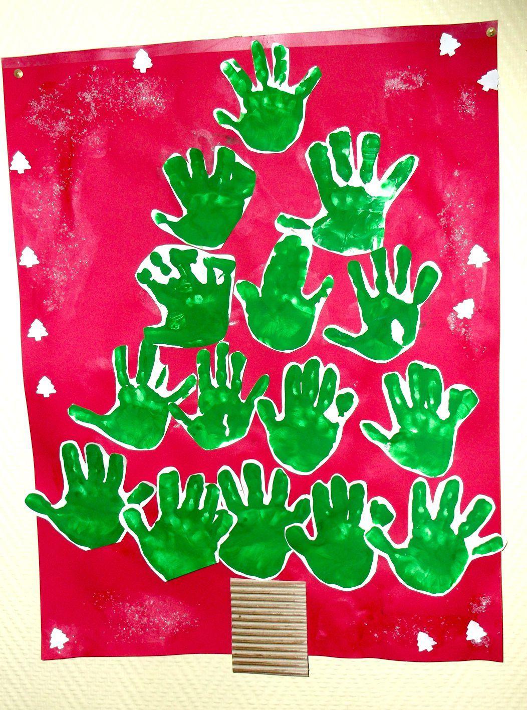 Sapin De Noël Avec Les Empreintes Des Mains | Idee Bricolage serapportantà Activité Manuelle Noel En Creche