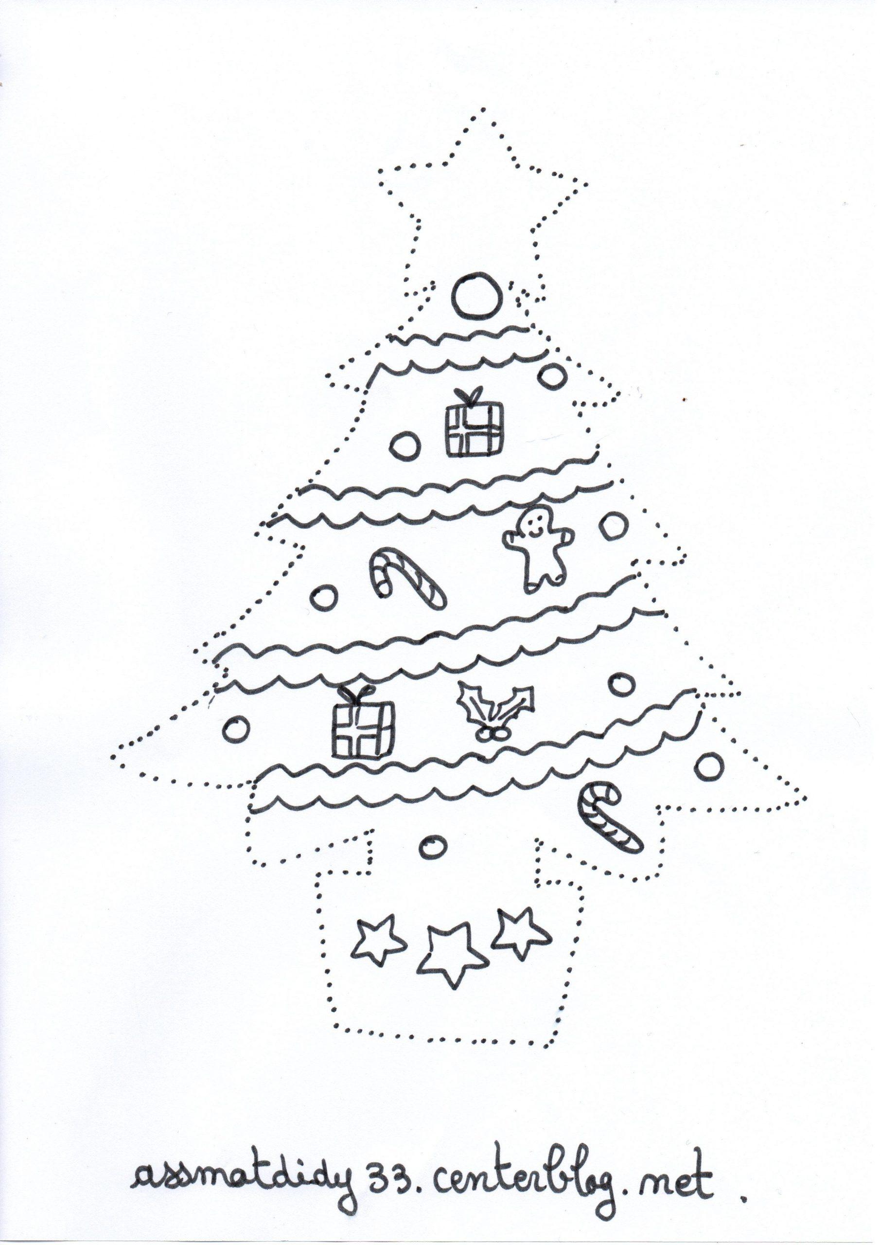 Sapin De Noël En Pointillés dedans Dessin En Pointillé