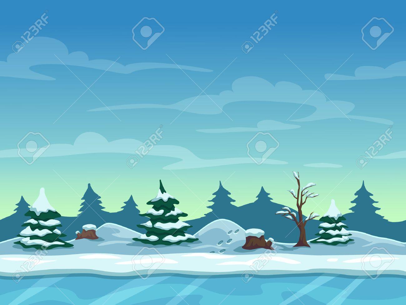 Seamless Paysage D'hiver De Dessin Animé, Fond Sans Fin Avec De La Glace,  Des Collines De Neige Et Des Couches De Ciel Nuageux serapportantà Dessin De Paysage D Hiver