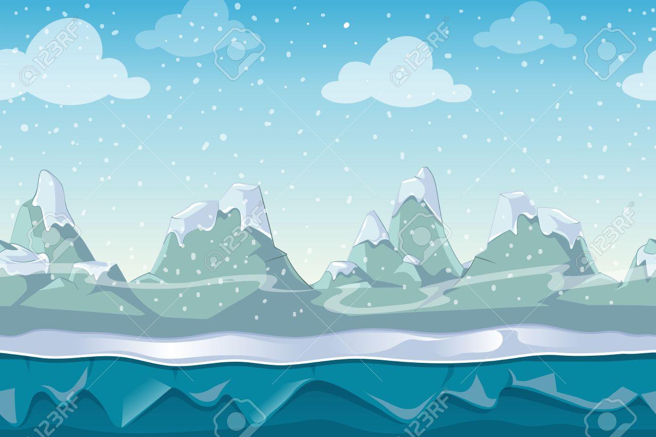 Seamless Vector Paysage D'hiver De Dessin Animé Pour Le Jeu D'ordinateur.  Neige Et Ciel Montagne, Environnement Extérieur Illustration tout Dessin De Paysage D Hiver