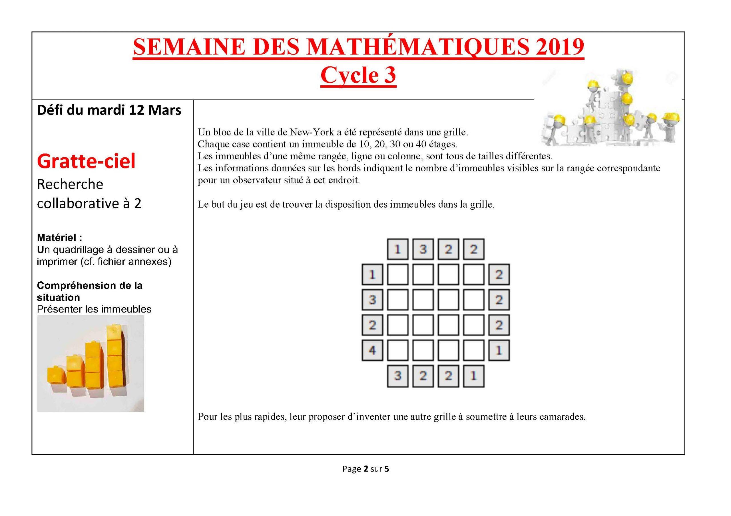 Semaine Des Mathématiques 2019 : Jouons Ensemble Aux à Jeux Mathématiques À Imprimer