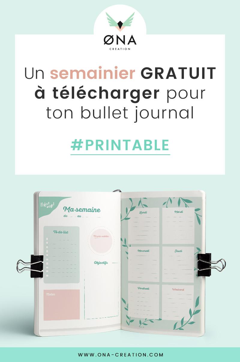 Semainier Gratuit À Télécharger Et Imprimer • Free Printable pour Journal De Vacances A Imprimer