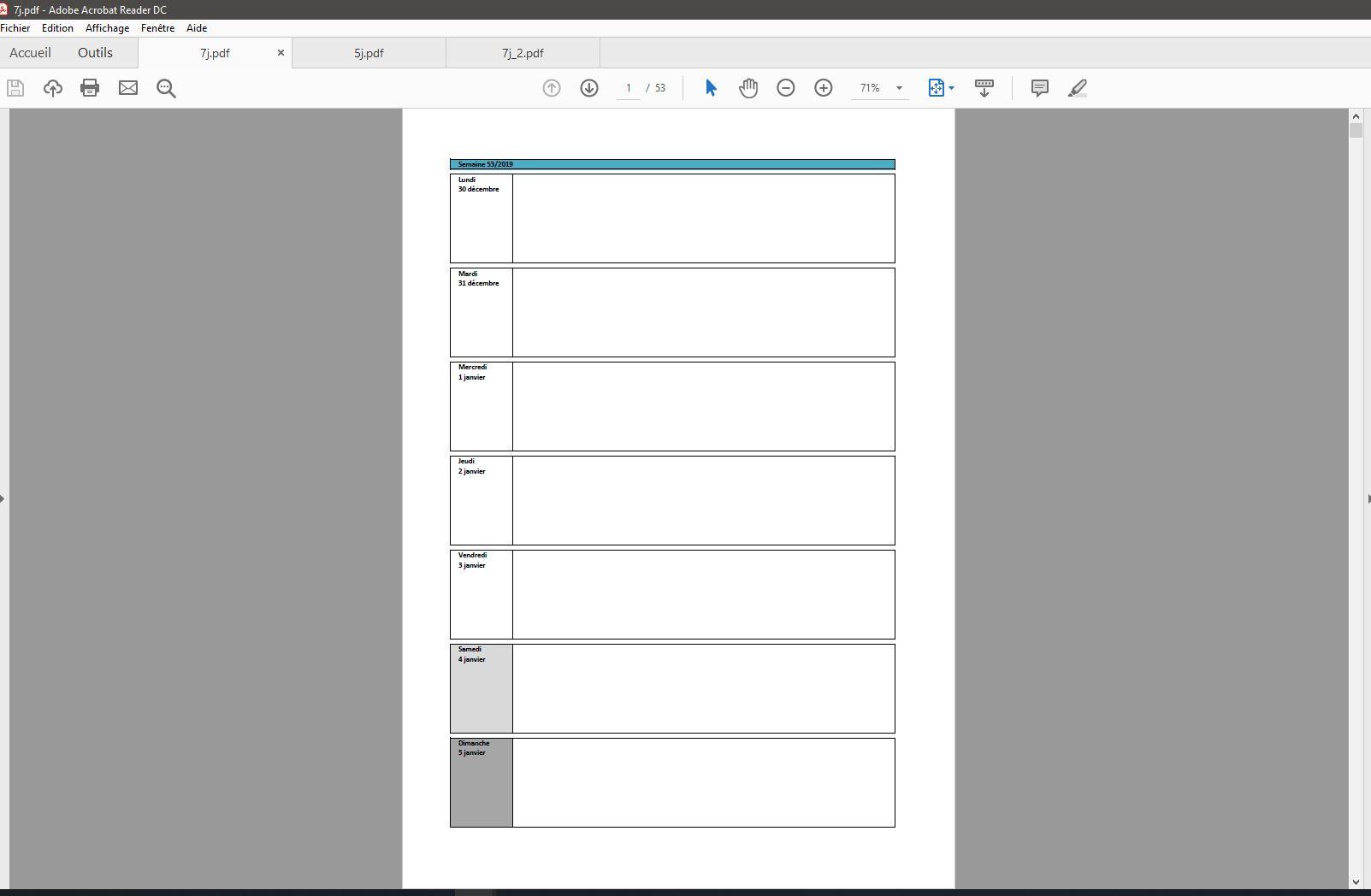 Semainier / Planning Excel Modifiable Et Gratuit   Excel avec Calendrier En Ligne Gratuit A Imprimer