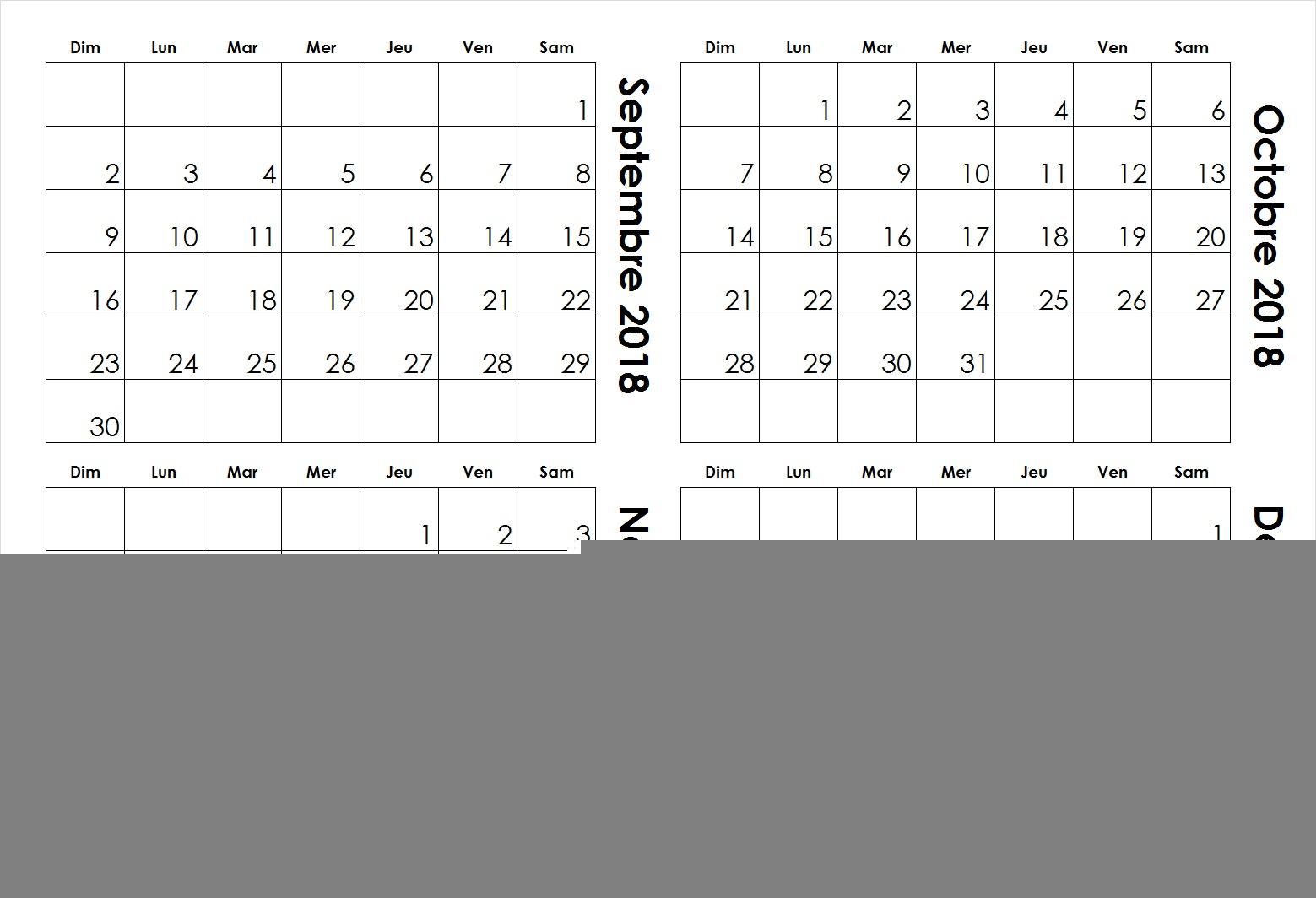 Septembre Octobre Novembre Decembre 2018 Calendrier Modèle à Calendrier Mensuel 2018 À Imprimer