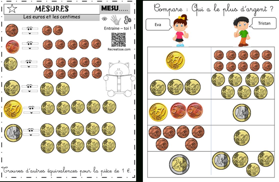 Sequence Monnaie : Ateliers - Exercices - Mémos • Recreatisse encequiconcerne Billets Et Pièces En Euros À Imprimer