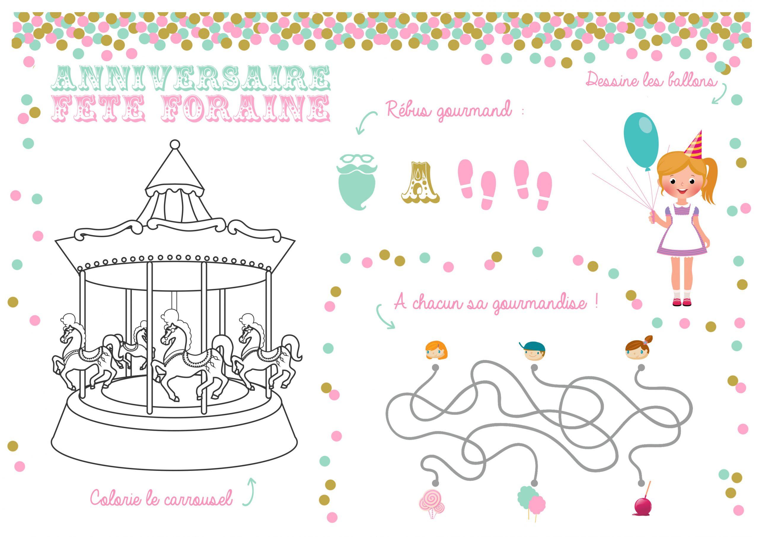 Set De Table Anniversaire Fête À Foraine À Imprimer - Momes destiné Rebus A Imprimer Gratuitement