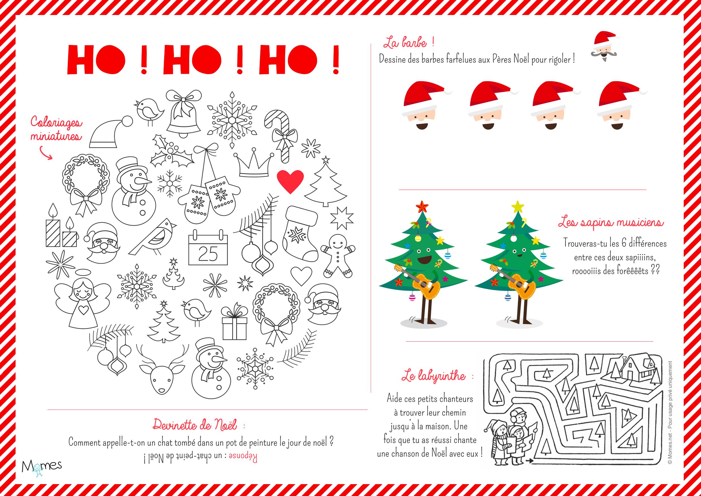 Set De Table De Noël À Imprimer Et Colorier - Momes destiné Jeux Gratuits À Imprimer Pour Adultes