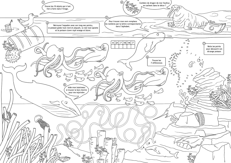 Set De Table Jeux Pour Enfant : L'océan – Dinett Illustration pour Point À Relier Alphabet