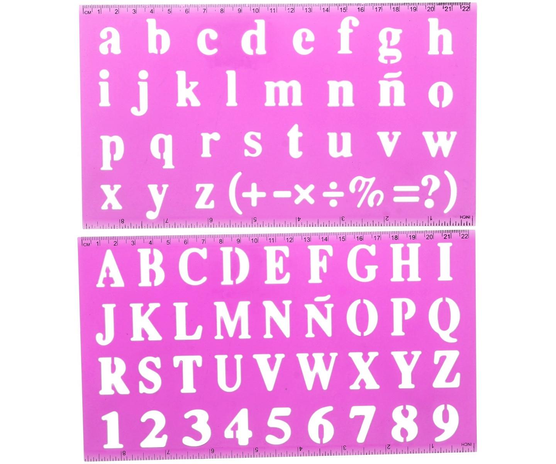 Set Lot 2 Règles Avec Pochoir Enfant Alphabet Minuscule intérieur Alphabet Majuscule Et Minuscule