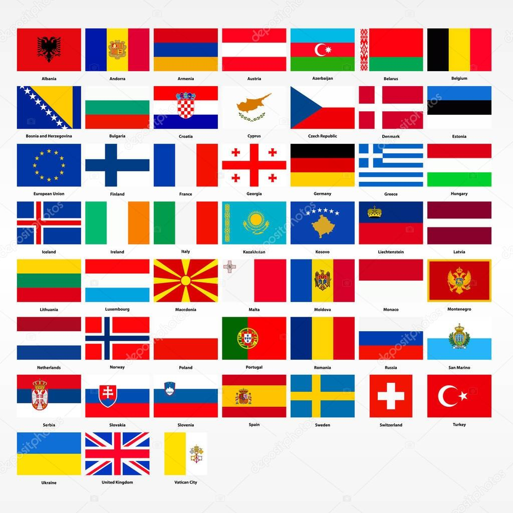 Set Of Flags Of All Countries Of Europe — Stock Vector concernant Tout Les Pays D Europe