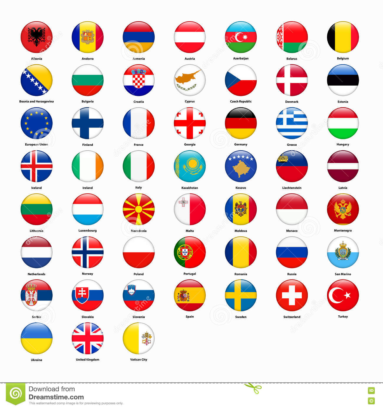 Set Of Flags Of All Countries Of Europe Stock Vector dedans Tout Les Pays D Europe