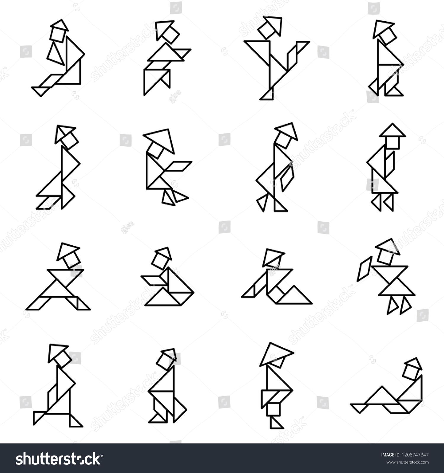 Set Simple Outline Tangram Chinese People Stok Vektör destiné Tangram Simple