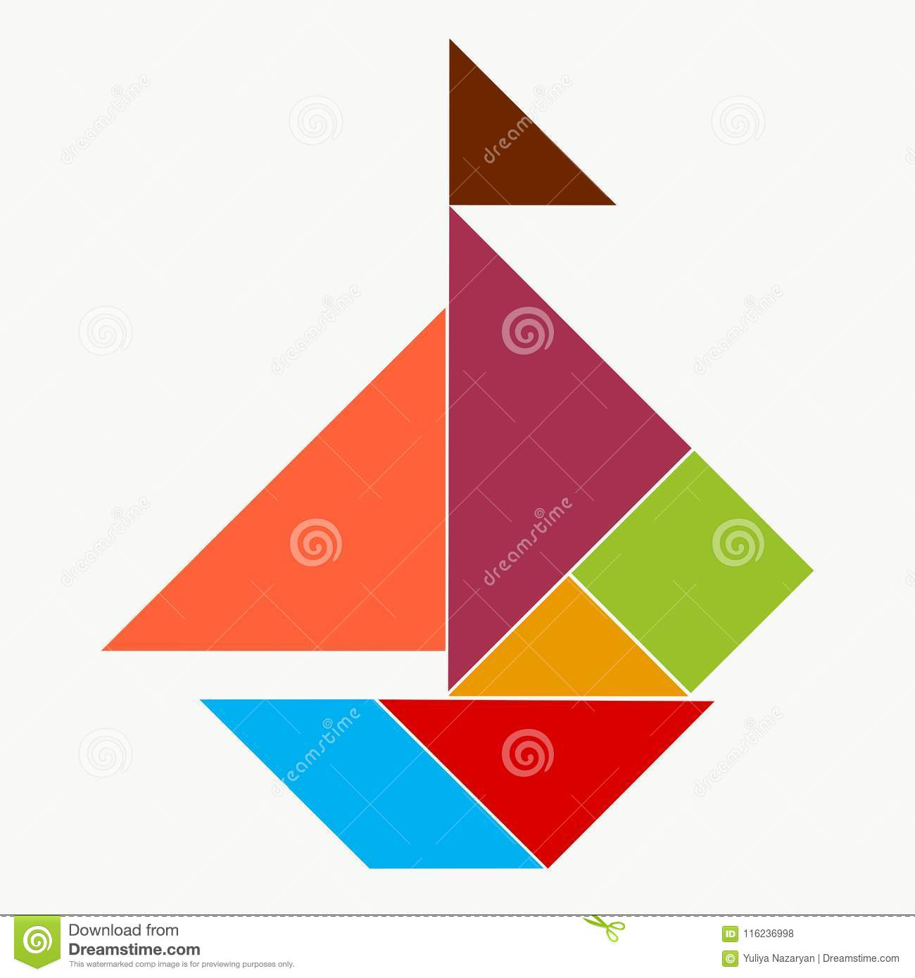 Ship From Pieces Of A Puzzle Tangram Stock Illustration encequiconcerne Pièces Tangram