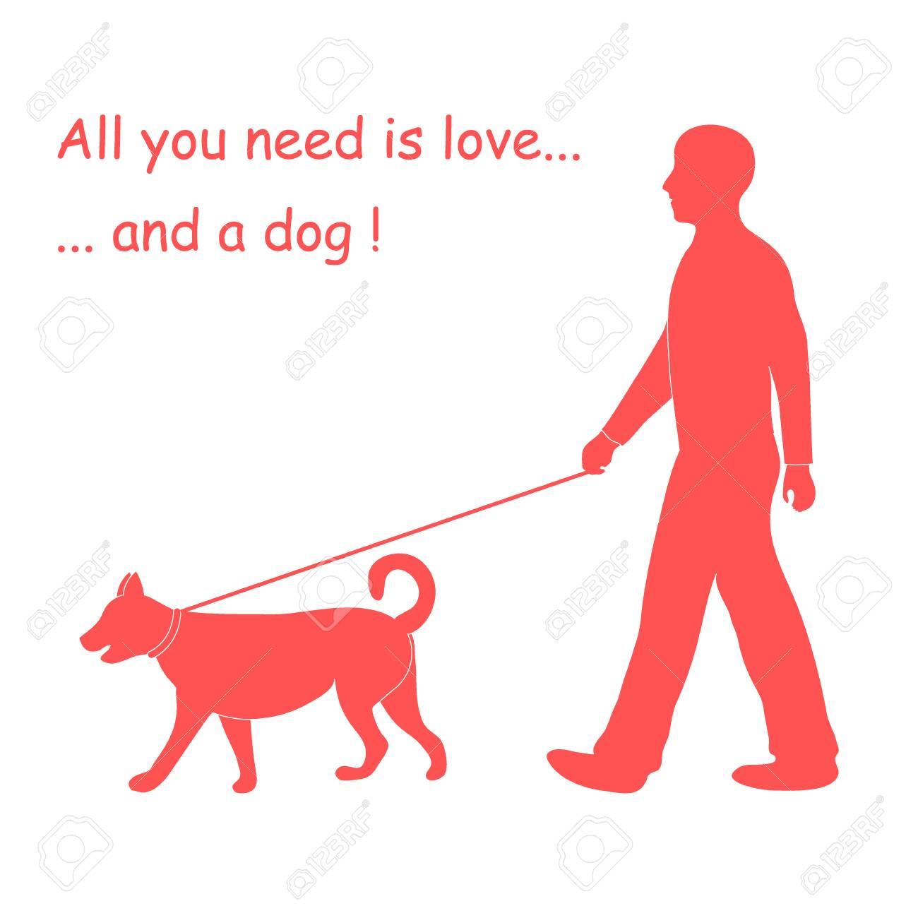 Silhouette Of A Man Walking A Dog On A Leash. Label For Pet Shop. Design  Element For Postcard, Banner, Flyer. serapportantà Dessin De Petshop