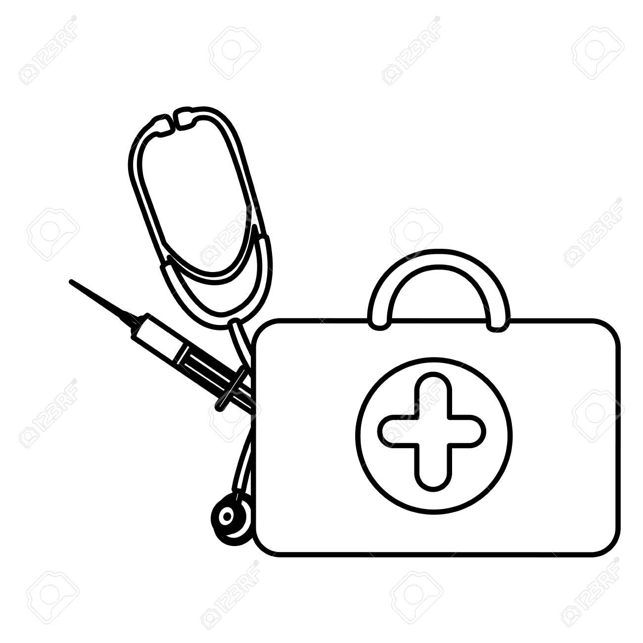 Silhouette Suitcase Health With Stethoscope And Syringe , Vector.. intérieur Stéthoscope Dessin