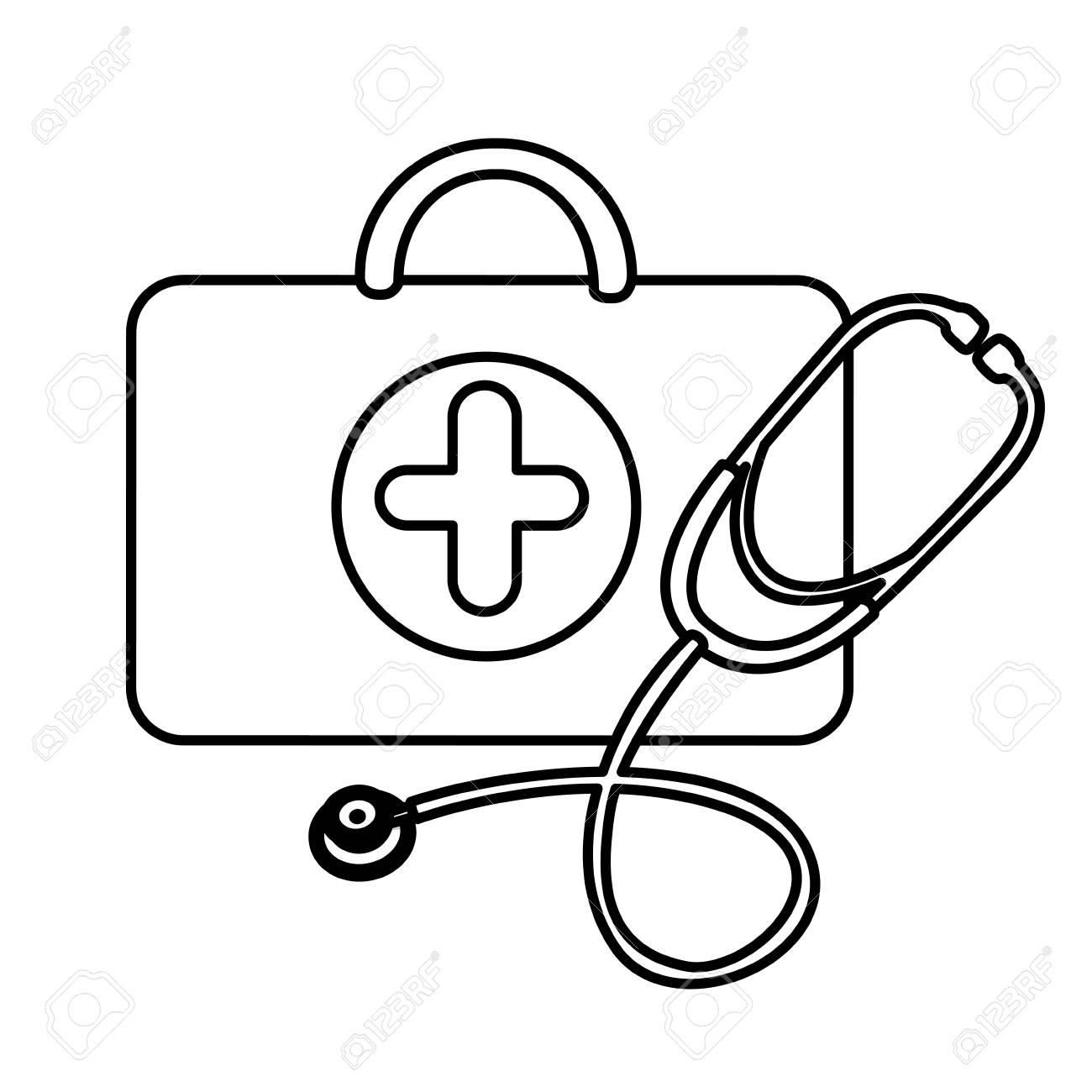 Silhouette Suitcase Health With Stethoscope Icon, Vector Design destiné Stéthoscope Dessin