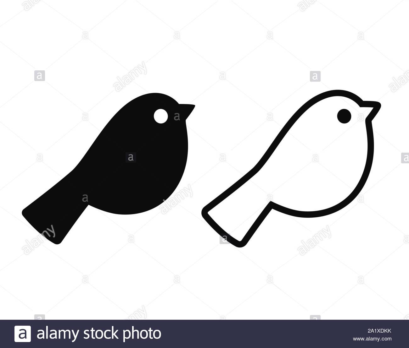Simple Caricature L'icône D'oiseaux. Silhouette Noire Et De à Dessin D Oiseau Simple