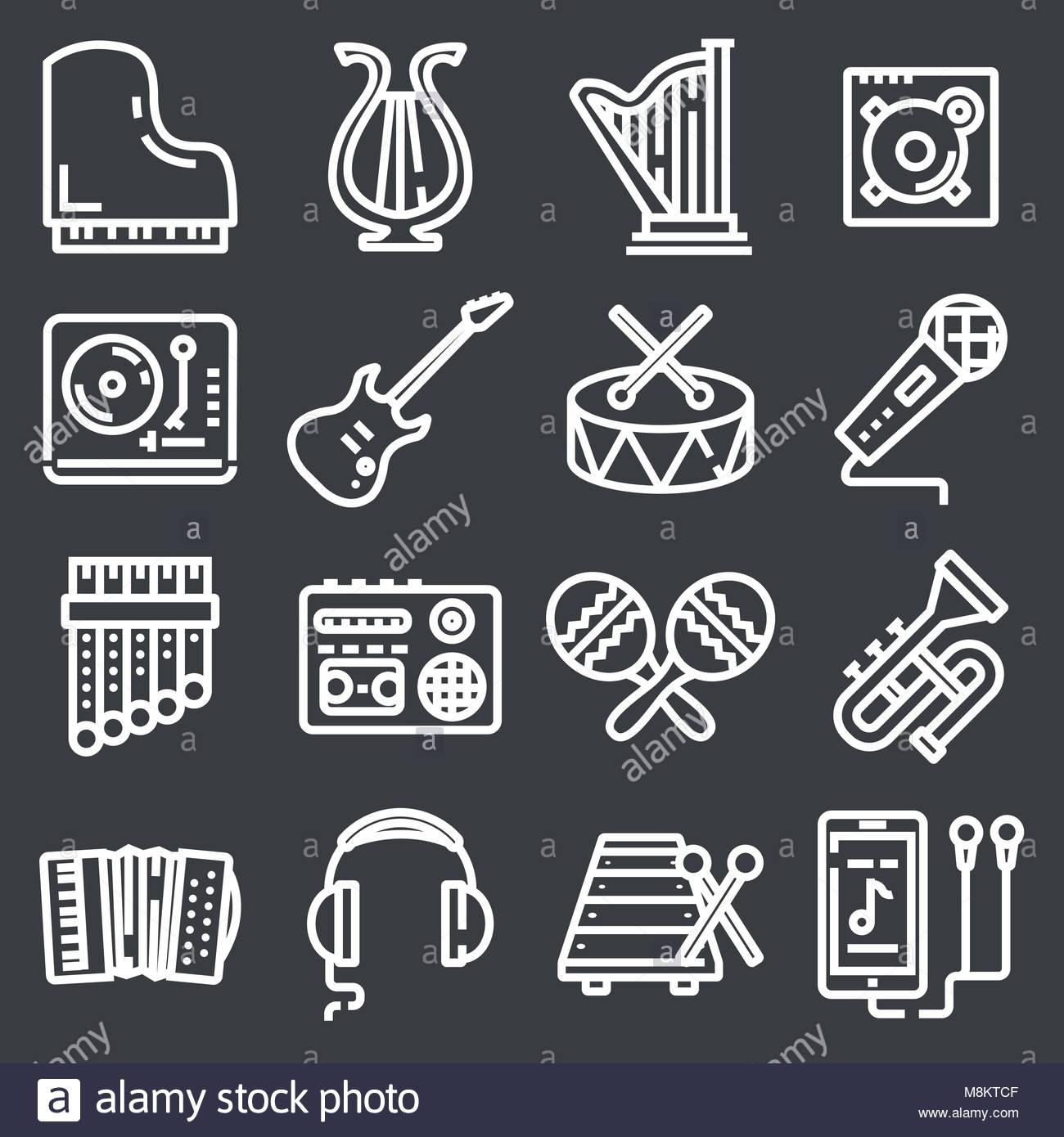 Simple Jeu D'icônes De Ligne Vecteur Touchant La Musique concernant Jeux De Musique En Ligne