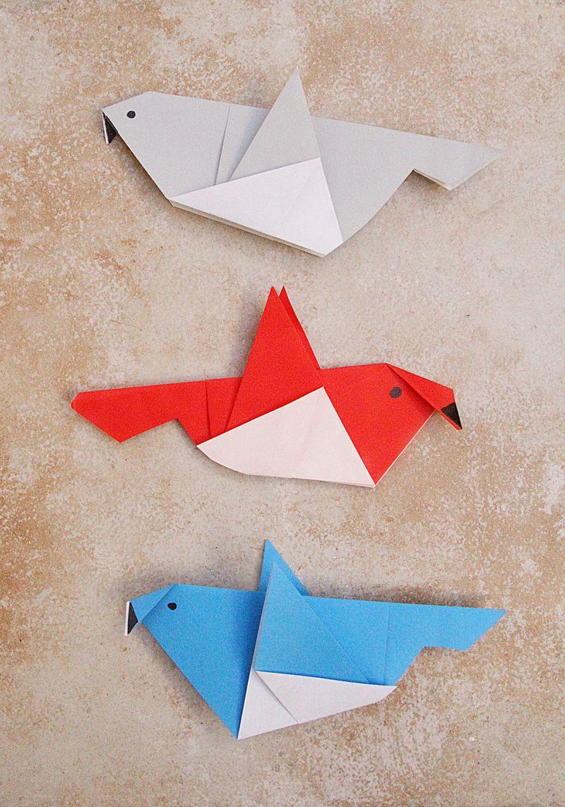 Simple Origami Birds For Kids | Oiseau Origami, Origami avec Pliage Papier Enfant