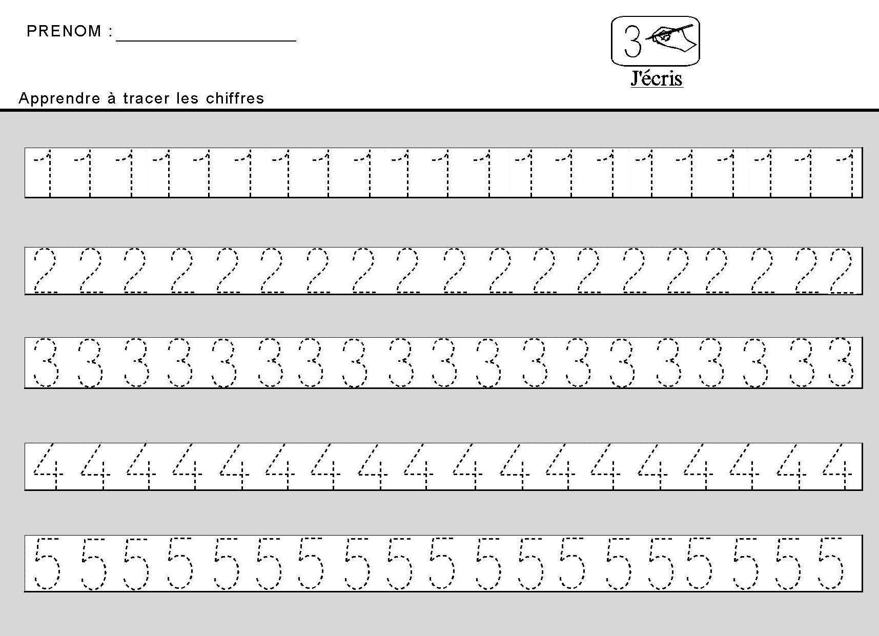 Site Maternelle : Apprendre À Tracer Des Chiffres En tout Ecriture Maternelle Moyenne Section A Imprimer