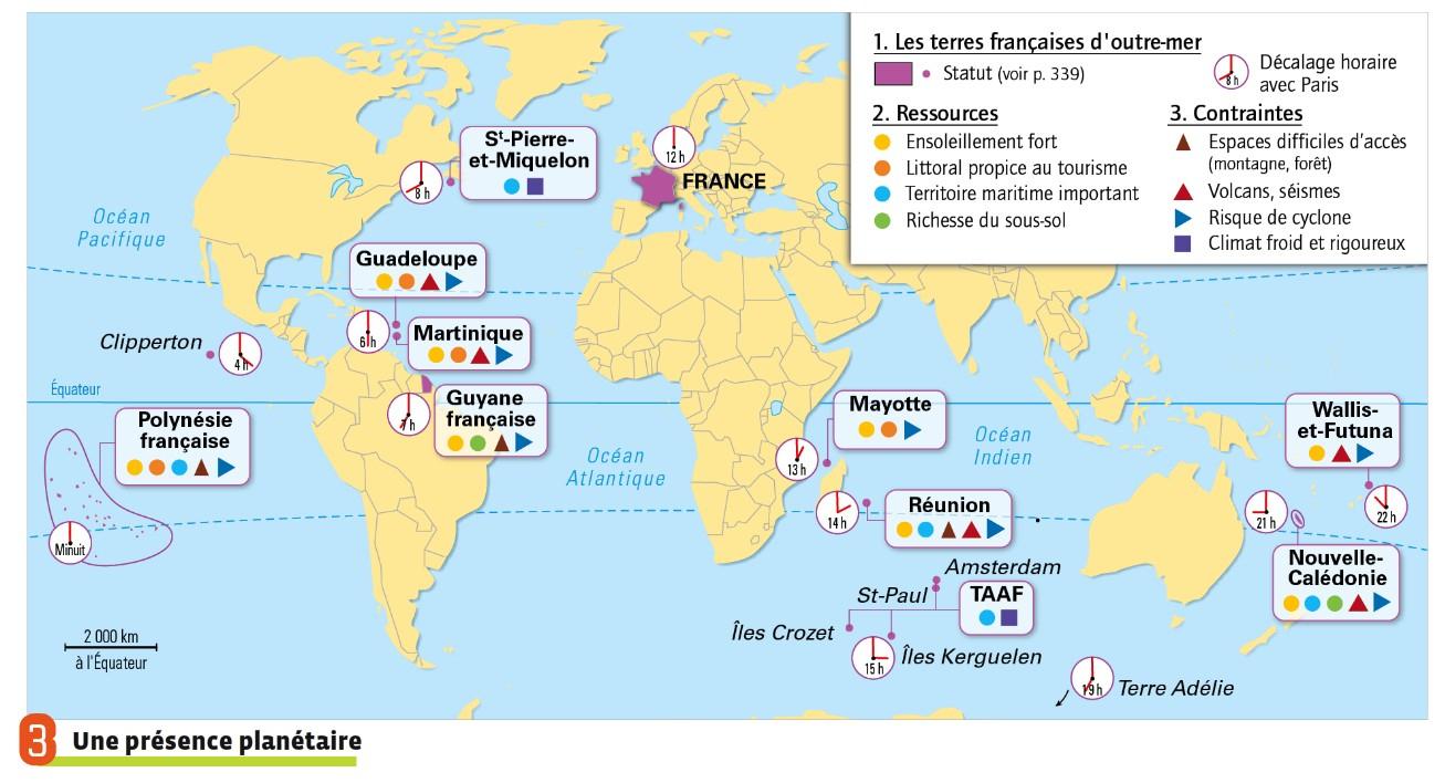 Situer Et Décrire Le Territoire Français tout France Territoires D Outre Mer