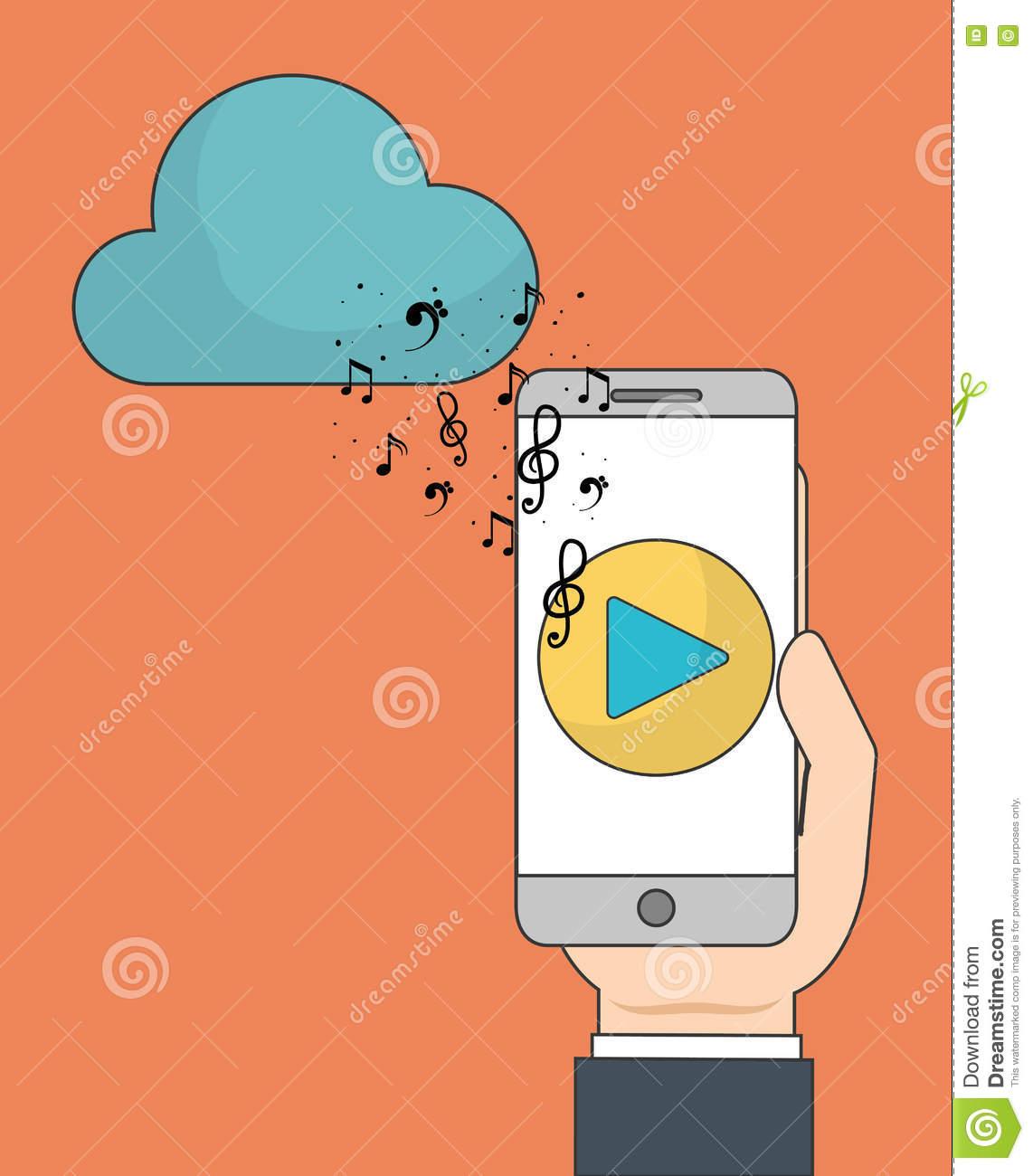 Smartphone Et Icône De Jeu Musique En Ligne Et Technologie destiné Jeux De Musique En Ligne